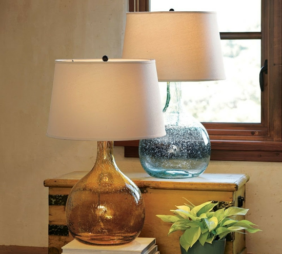 transparent farbig stehlampe pottery barn clift blau braun