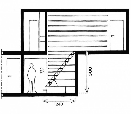 treppenhaus bücherregale entwurf konstruktion