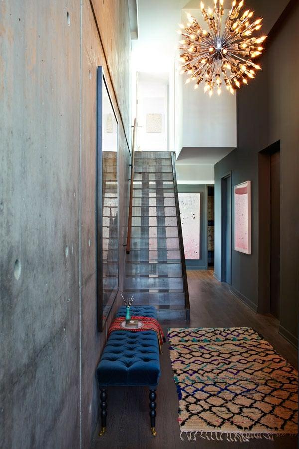 treppenhaus glas trittstufen sitzbank klassisch samt blau luxus