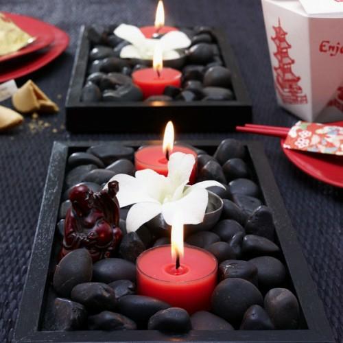 verzierung tisch rot teelichter