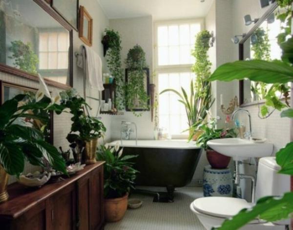 Badezimmer Design Mit Blumen Und Pflanzen - Originelle Frühlingsideen Pflanzen Deko Wohnzimmer