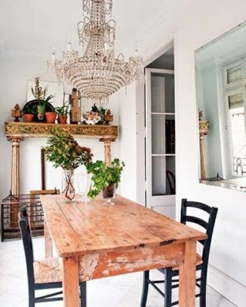 Vintage Esszimmer Möbel Tisch Stühle Alt Pflanzen Holz Kronleuchter