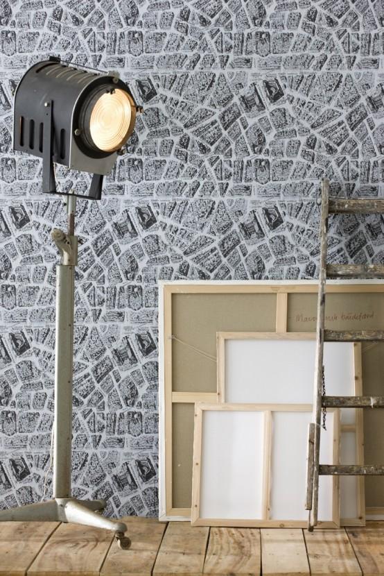wand tapet art studio scheinwerfer stein imitation