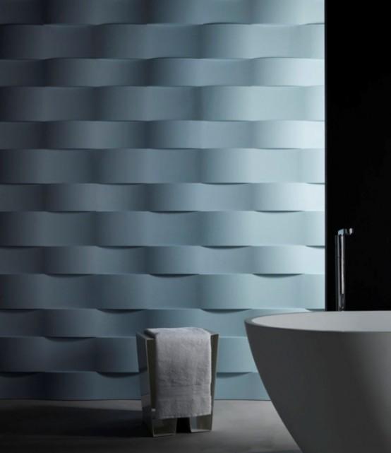 wandbelag 3D effekt weiß edel badezimmer geometrisch wellen struktur