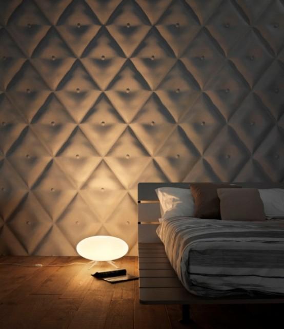 wandbelag 3D geometrische formen schlafzimmer licht stehlampe holz