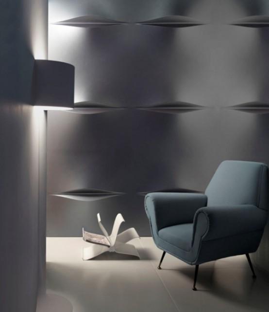 wandbelag 3D silber weiß modern minimalistisch licht schlichtkeit