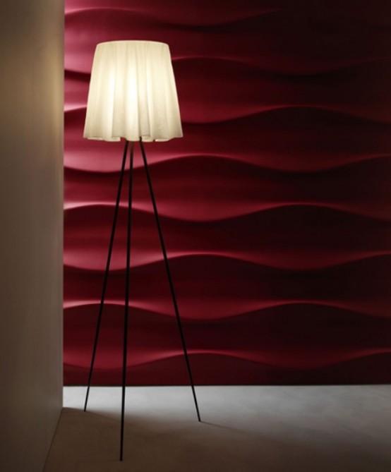 wandbelag 3D wellen effekt deko stehlampe rot