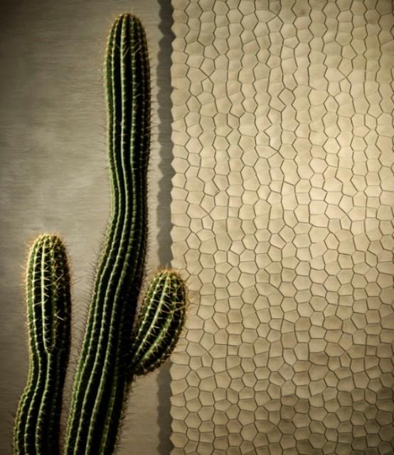 wandpaneele - 3D еffekt kaktee struktur weiß