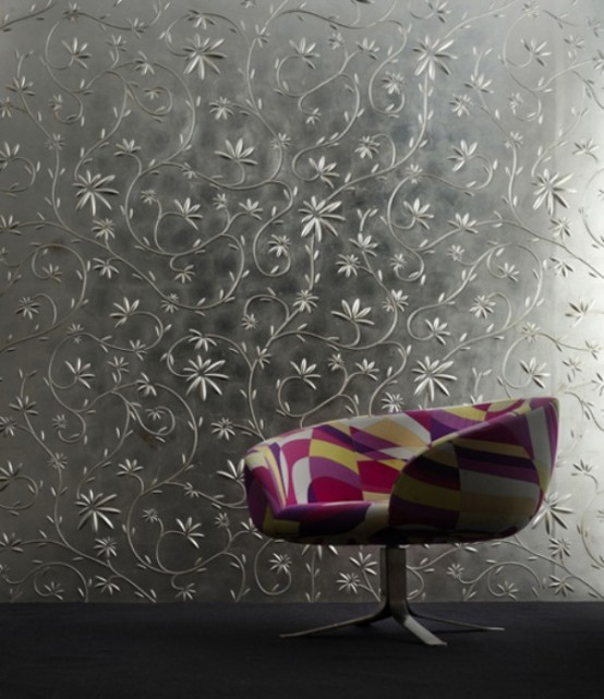 wandpaneele - 3D еffekt silber blumen muster bunt sessel
