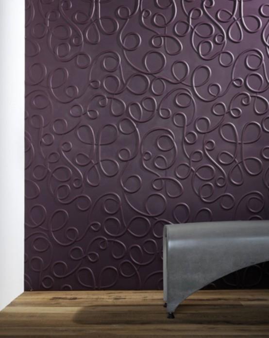 wandpaneele - 3D abstrakt lila farbig struktur