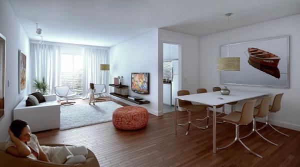 wohnzimmer holzboden:Kombination von Wohnzimmer und Esszimmer – stilvolle Gestaltung