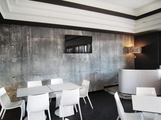 weiß glanzvoll essmöbel betontapeten lcd fernseher modern originell
