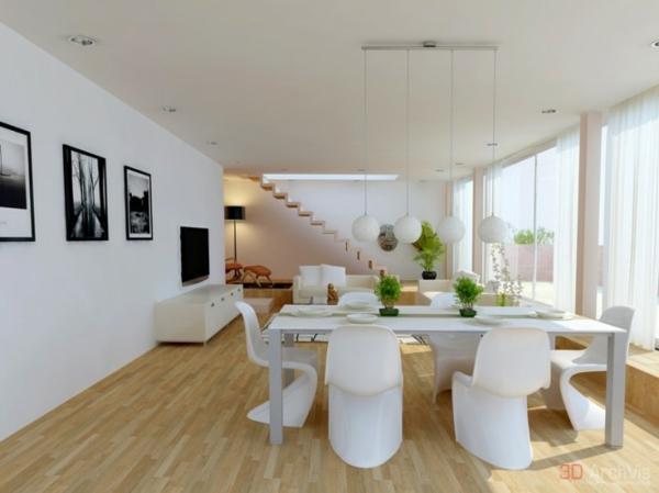 Attraktive Kombination Von Wohn Und Esszimmer