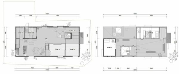 Weißes, transparentes Haus asien design fußboden erdgeschoss plan