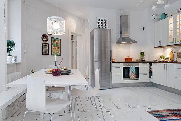 wertvolle wohnung weiß shabby chic göteborg küche essbereich