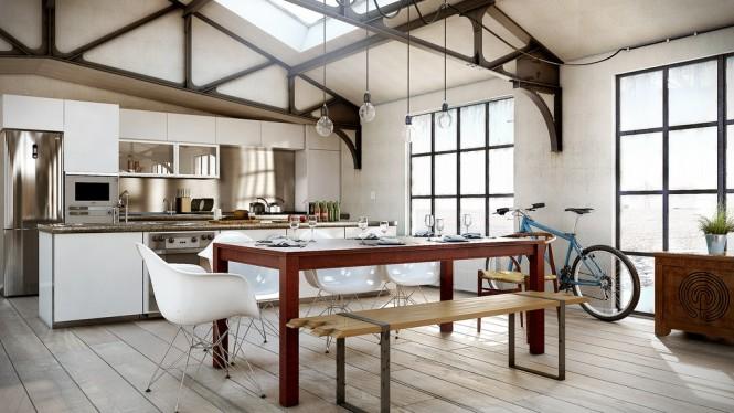 wohnküche mit attraktiver stilkombination