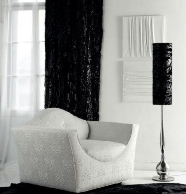 wohnzimmer design kontrastfarben schwarz weiß