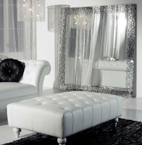 schwarz wohnzimmer:Wunderschönes Wohnzimmer Design in Silber und Weiß