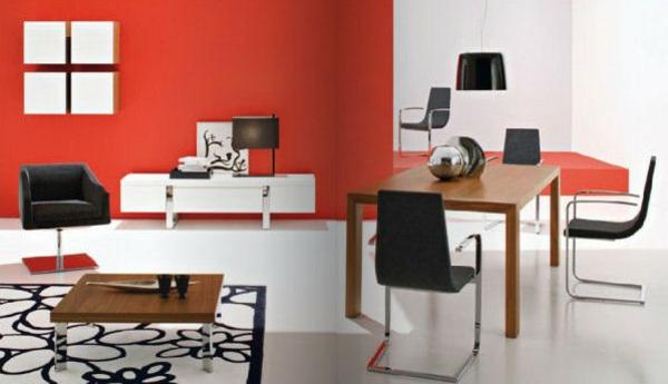 wohnzimmer einrichtung weiß rot schwarz