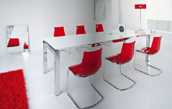 wohnzimmer esstisch rote stühle