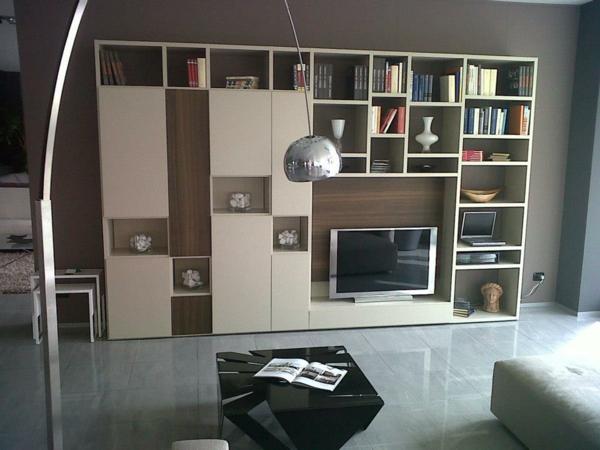 Wohnzimmer Regale Bücher Praktisch Fernseher