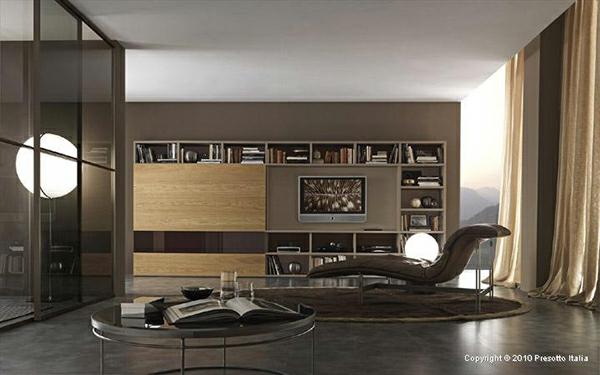 Wohnzimmer Regale Bücher Sessel Fernseher Beige Elegant