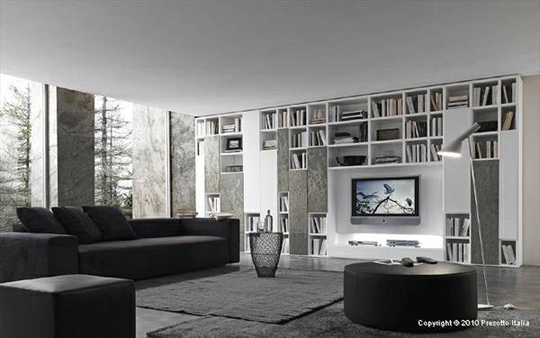 Wohnzimmer Regale Bücher Sofa Wand Fernseher Stehlampe