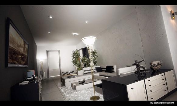 wohn-und-esszimmer-schwarz-weiß-elegant-stehlampe