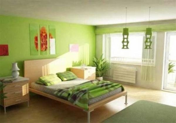 wundervoll hell schlafzimmer grün deko