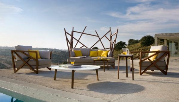 Polyrattan Gartenmöbel tisch stuhl außenbereich avantgardistisch tisch