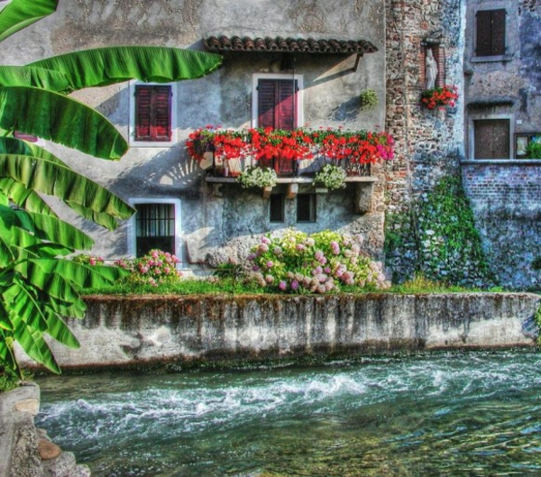 attraktiven balkon gestalten design blumen rot grün