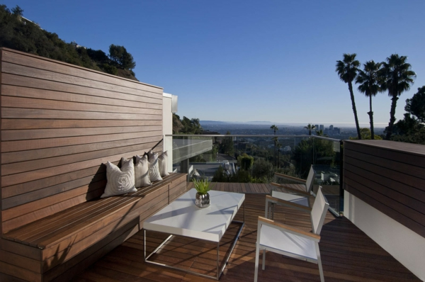 balkon bodenbelag holz idee fliesen dunkel Balkon Holzfliesen Ideen