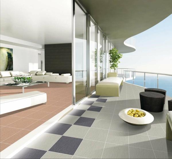 balkon bodenbelag holz idee privatsphäre Balkon Holzfliesen Ideen