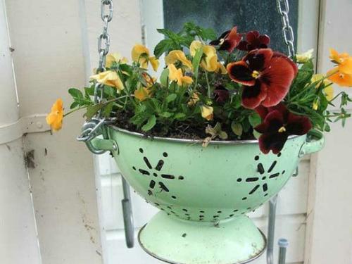 Blumentöpfe zuhause aufhängen Platz sparen Wohnzimmer Design