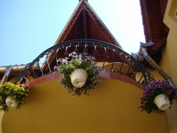 balkon pflanzen design garten gestalten holz hängekörbe