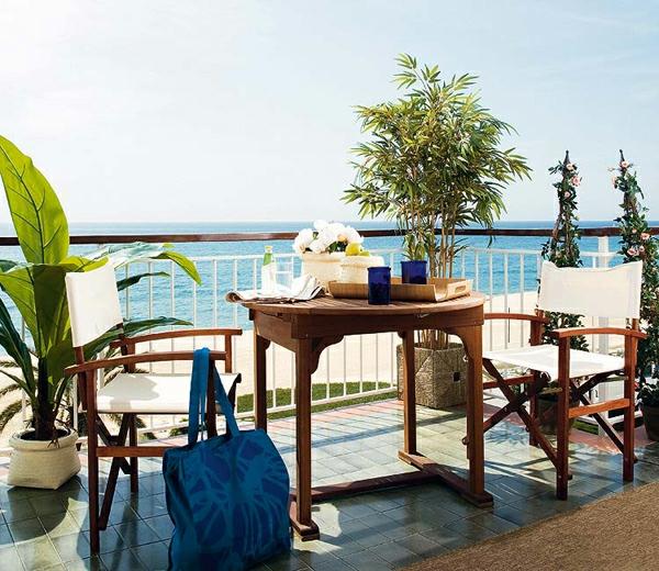 balkon pflanzen designs ideen kaffeetisch meer