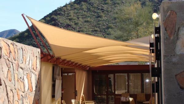 balkon schutz sonne markise orange garten