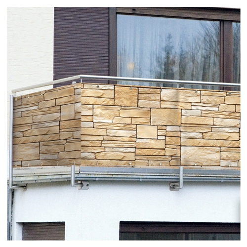 balkon sichtschutz steine täuschung kunststoff