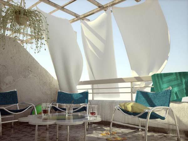 bequeme balkon designs ideen grell luftig gardinen