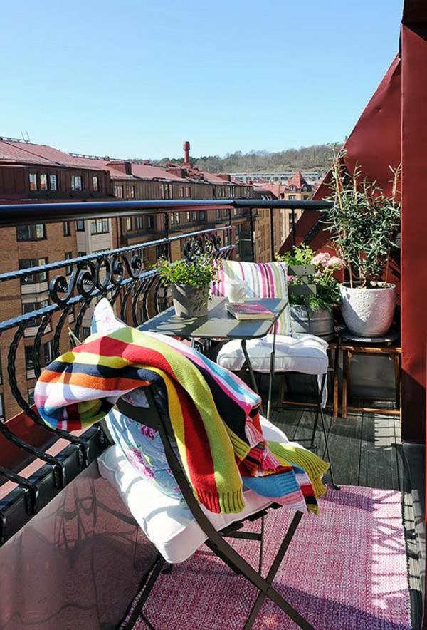 projekt balkon design ideen klein gemütlich