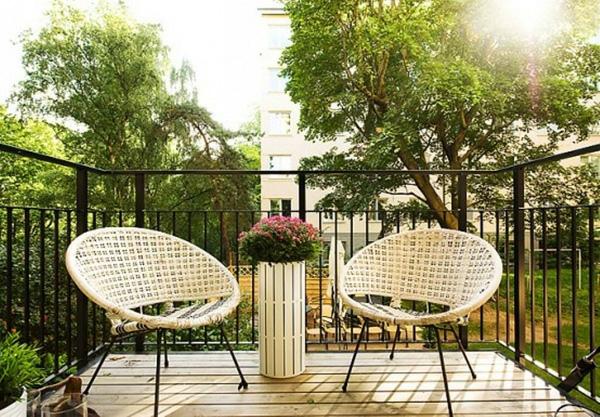 projekt balkon design ideen rattan möbel