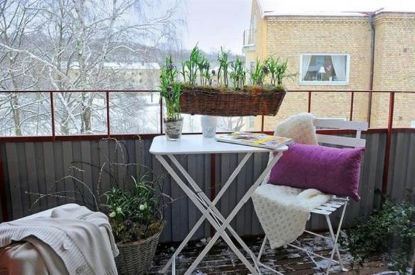 projekt balkon design ideen weiße klapptisch