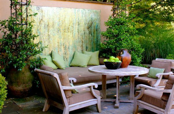 Holzterrasse Bodenbelag Gartentisch Sitzbank