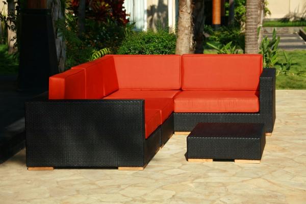 bodenbelag im außenbereich rot auflagen ratan möbel