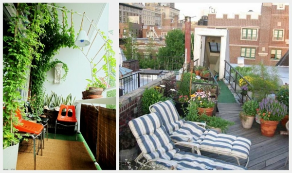 coole balkon bepflanzungsideen liegen stuhl plastisch
