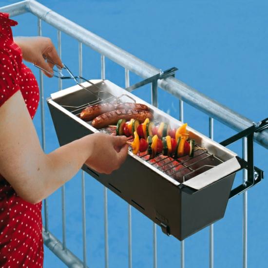coole balkon ideen terrasse grill klein hängend