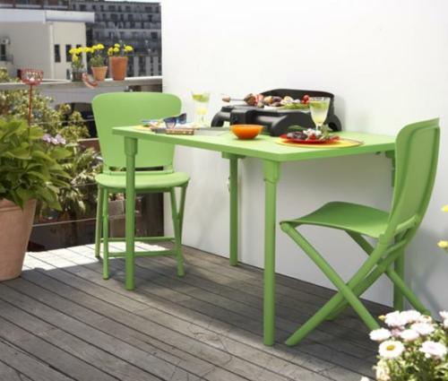 coole balkon möbel ideen farbe tisch stühle grün