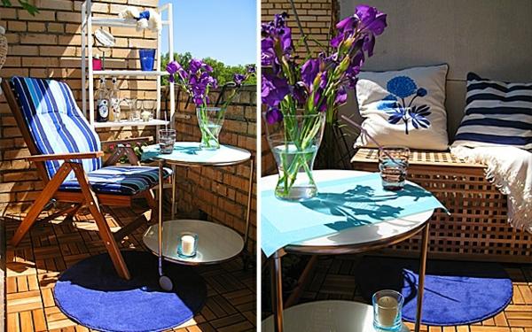 coole deko ideen für balkon designs tisch blau lila