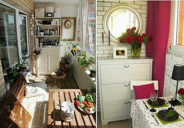 coole deko ideen für balkon designs tisch wandspiegel