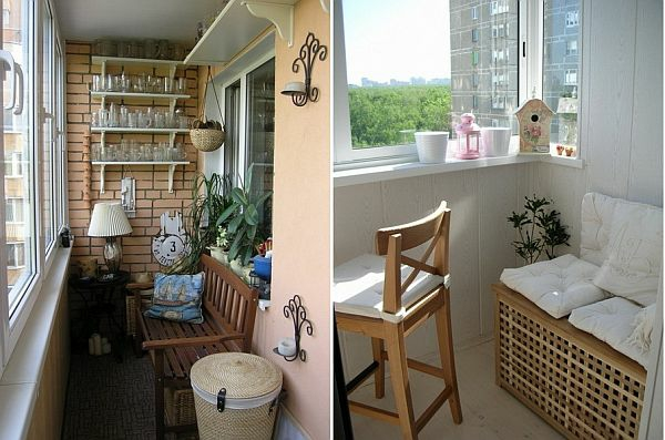 coole deko ideen für balkon designs tisch ziegelwand